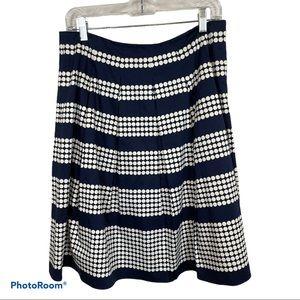 Talbots Pleated A-Line polka dot Skirt sz 8P